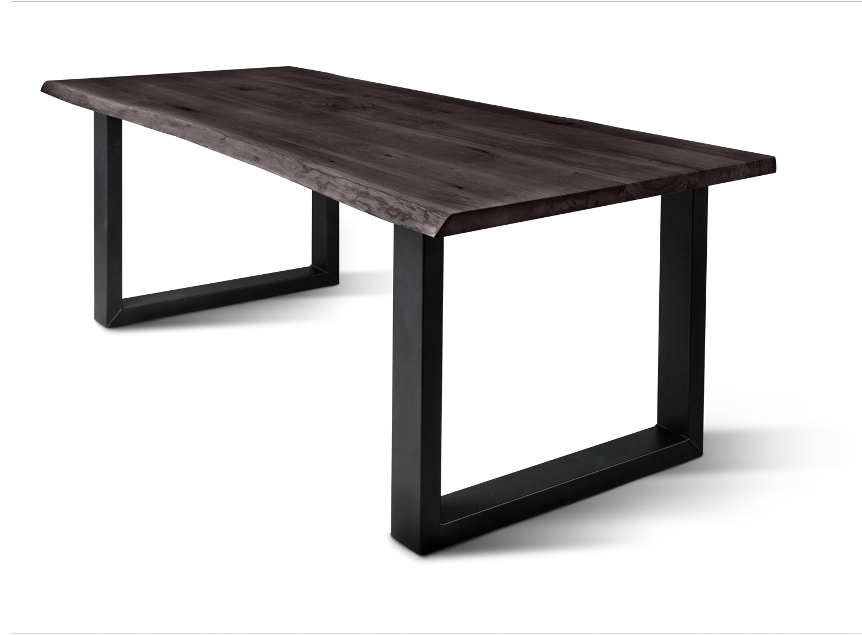 Table Factory | Massive Eiche mit Baumkante, 40 mm, Esstisch, Charcoal  geölt, Ulli schwarz | online kaufen